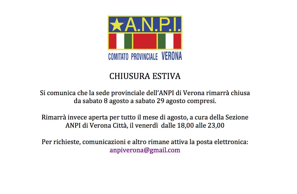 chiusura estiva ANPI Verona